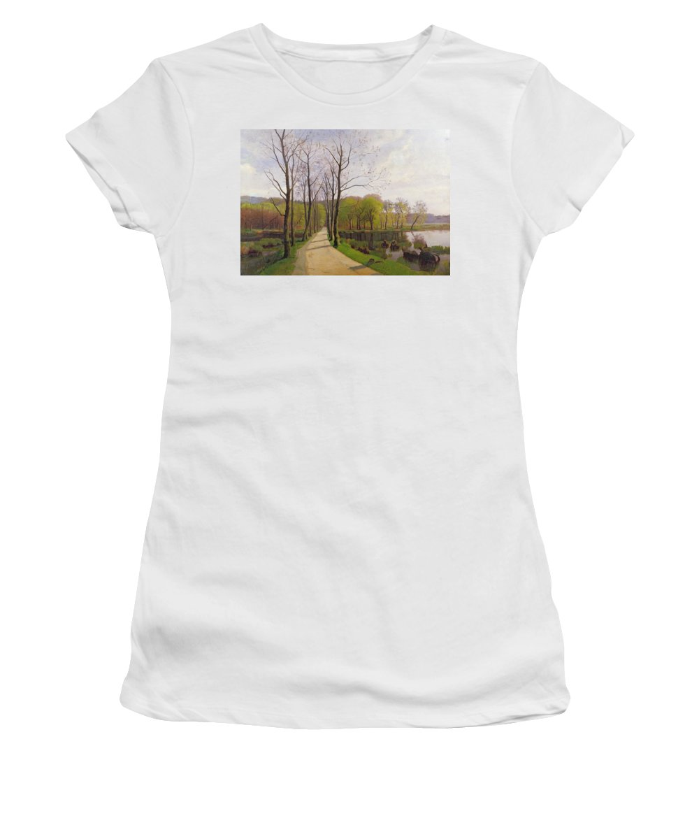 Spring Landscape Women's T-Shirt featuring the painting Spring Landscape by Hans Brasen