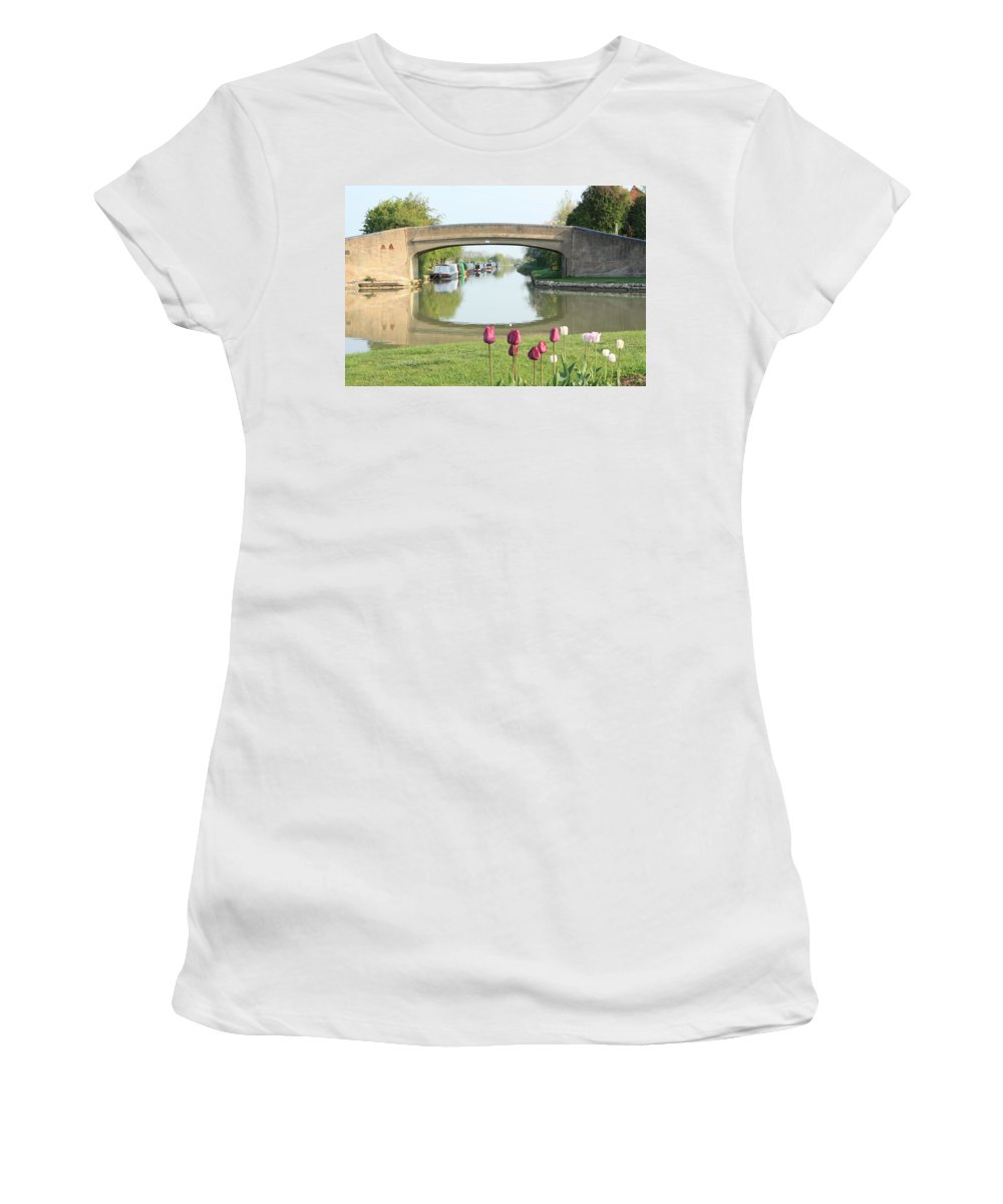 Inland Waterways Women's T-Shirt (Athletic Fit) featuring the photograph Spring On The Oxford Canal by Linsey Williams