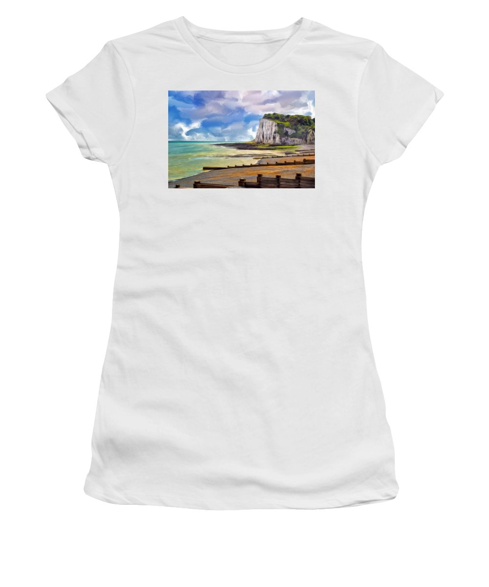 St. Margaret Women's T-Shirt (Athletic Fit) featuring the painting St. Margaret's Bay At Dover by Dominic Piperata