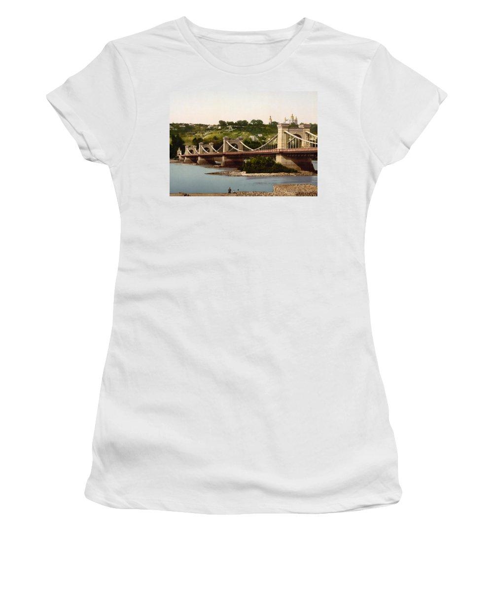 st. Nicholas Bridge Women's T-Shirt featuring the photograph St Nicholas Bridge In Kiev - Ukraine - Ca 1900 by International Images