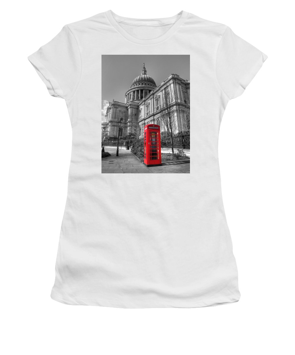 St Women's T-Shirt (Athletic Fit) featuring the photograph St Pauls Telephone Box by Andy Linden