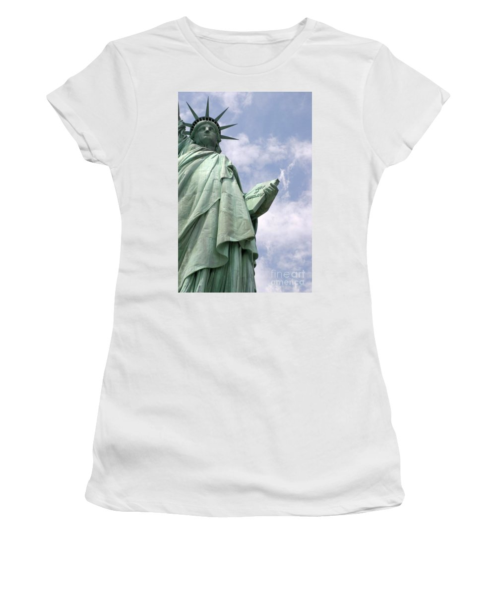 Statue Of Liberty Women's T-Shirt (Athletic Fit) featuring the photograph Stand Tall by Living Color Photography Lorraine Lynch