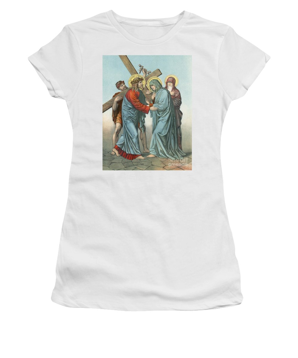 Catholic; Bible; Religion; Truth; Station Iv; Jesus Carrying; Cross; Meets; Afflicted Mother Women's T-Shirt (Athletic Fit) featuring the painting Station Iv Jesus Carrying The Cross Meets His Most Afflicted Mother by English School