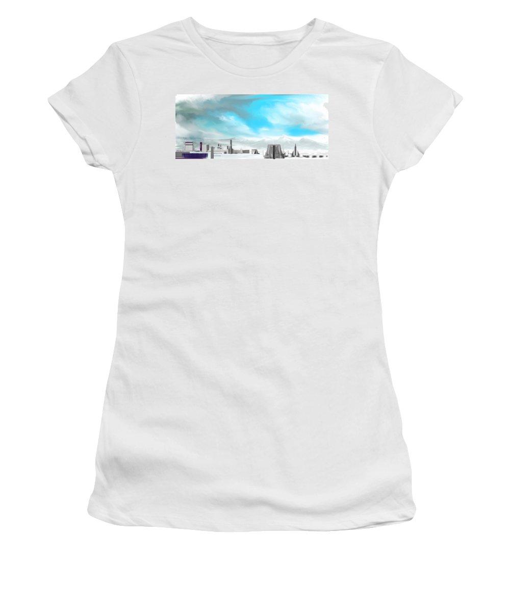 Fine Art Women's T-Shirt (Athletic Fit) featuring the digital art Storm Approachs Strange City by David Lane