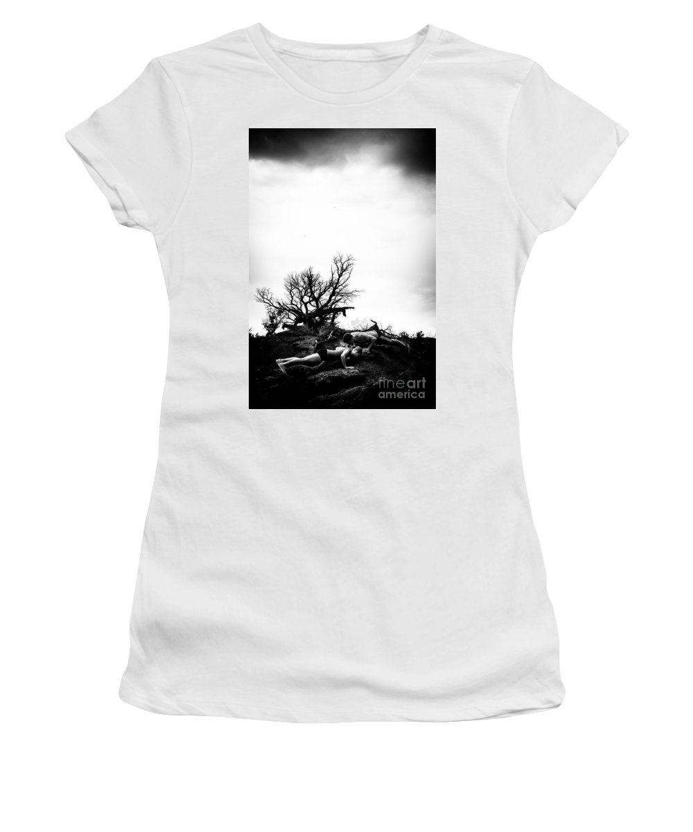 Push Ups Women's T-Shirt (Athletic Fit) featuring the photograph Stormy Pushups by Scott Sawyer