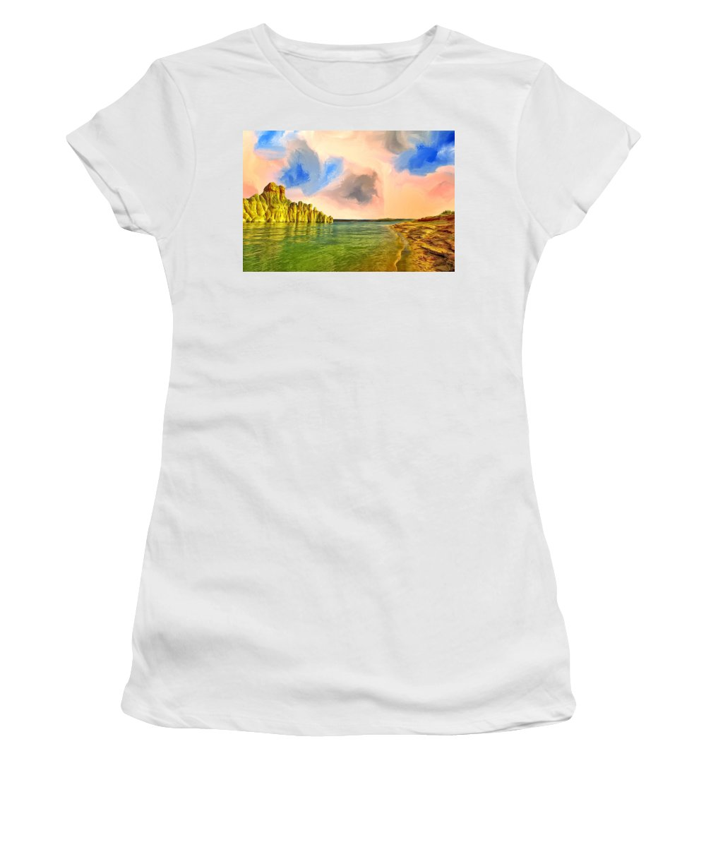 Sunrise Women's T-Shirt (Athletic Fit) featuring the painting Sunrise On Lake Powell by Dominic Piperata