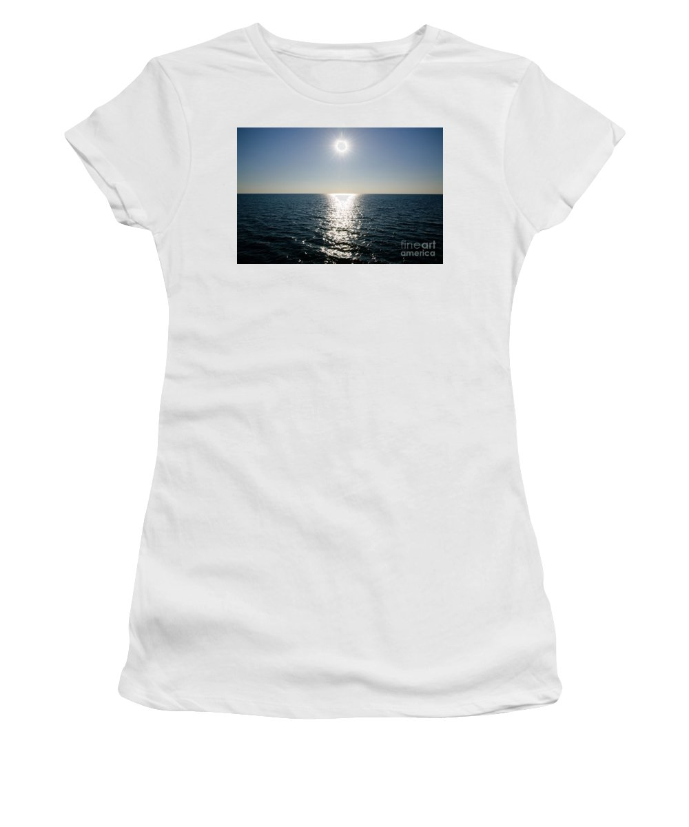 Sun Women's T-Shirt (Athletic Fit) featuring the photograph Sunshine Over The Mediterranean Sea by Mats Silvan