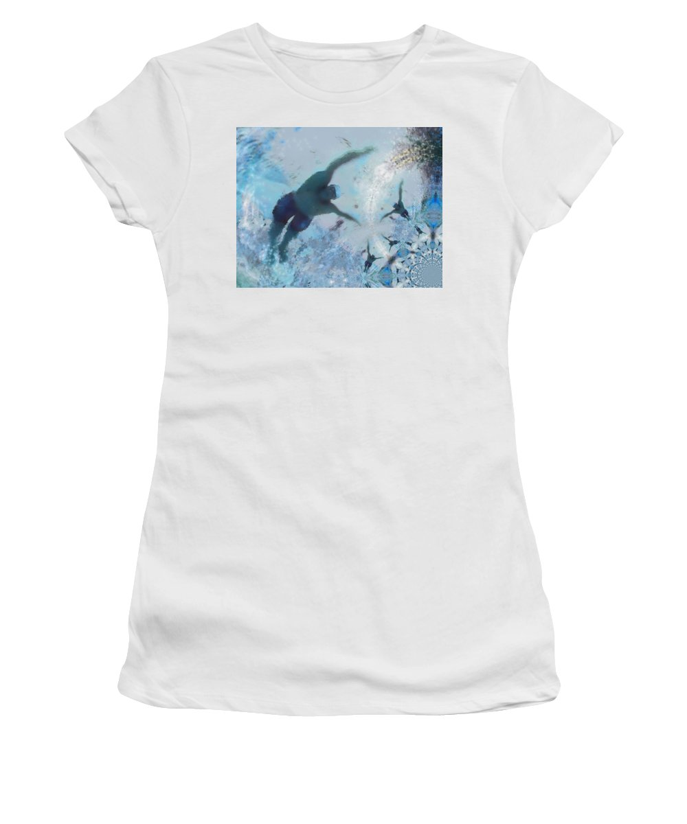 Sports Women's T-Shirt (Athletic Fit) featuring the painting Swimplicity by Miki De Goodaboom