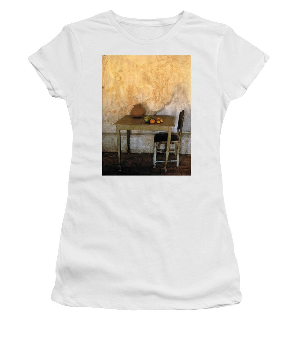 Wooden Women's T-Shirt (Athletic Fit) featuring the photograph Table And Chairs Infront Of Weathered by Axiom Photographic