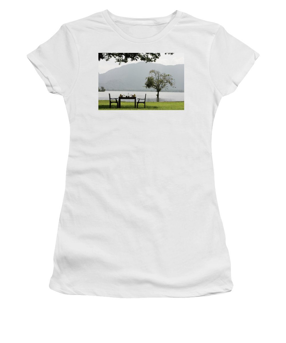 Wine Women's T-Shirt (Athletic Fit) featuring the photograph Table And Chairs Ready For Lunch Beside by Axiom Photographic
