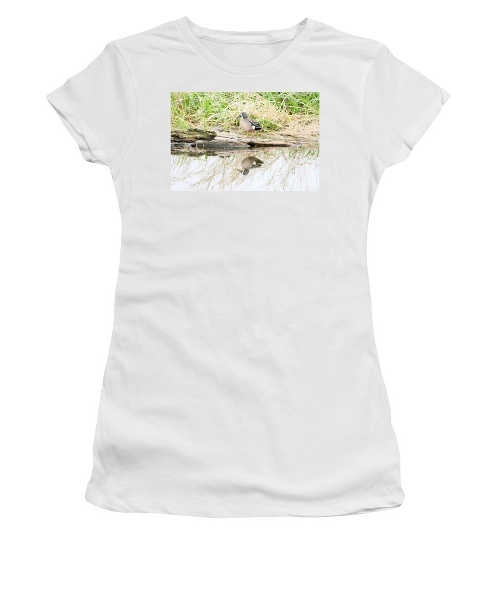 Ducks Women's T-Shirt (Athletic Fit) featuring the photograph Teal Duck Standing On A Log by Lori Tordsen