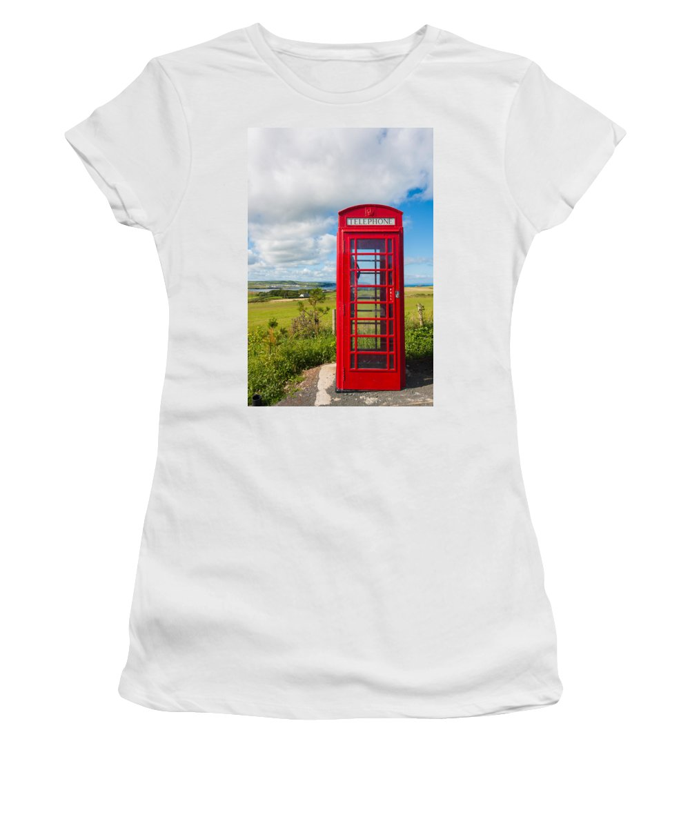 Blue Women's T-Shirt (Athletic Fit) featuring the photograph Telephone Anyone by Semmick Photo