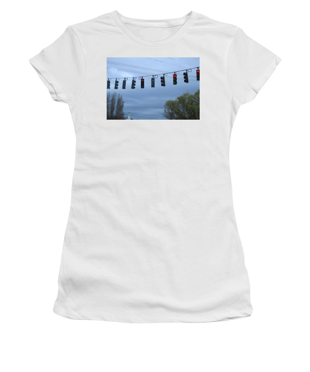Ten Traffic Lights Women's T-Shirt (Athletic Fit) featuring the photograph Ten Traffic Lights by Kym Backland