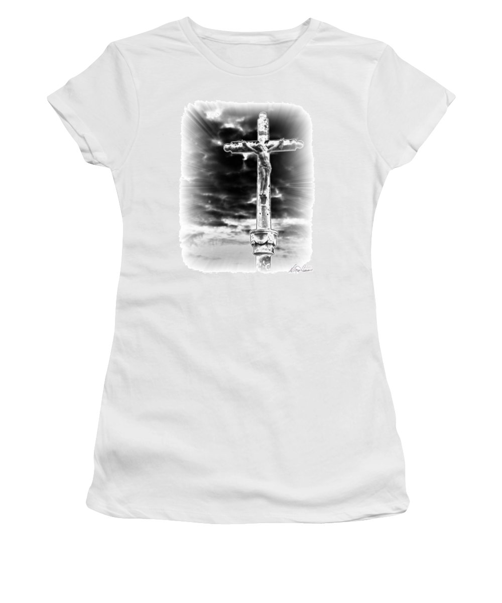 Jesus Women's T-Shirt featuring the photograph The Crucifixion by Diana Haronis