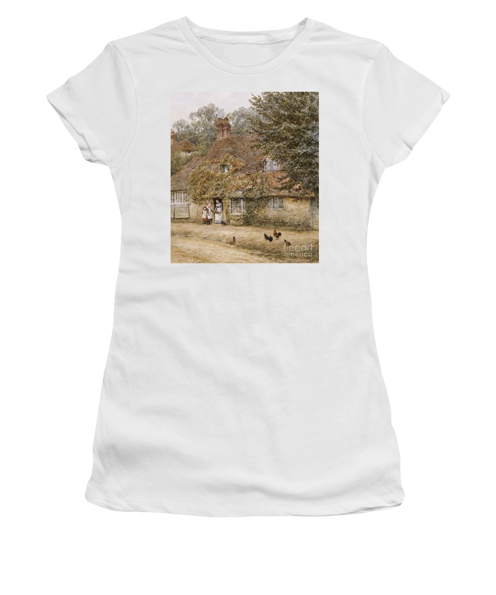 Village; Exterior; Cottage; Lane; Country; English; Landscape; C19th; C20th; Victorian; Mother; Child; Children; Girls; Female; Chickens Women's T-Shirt (Athletic Fit) featuring the painting The Old Fish Shop Haslemere by Helen Allingham