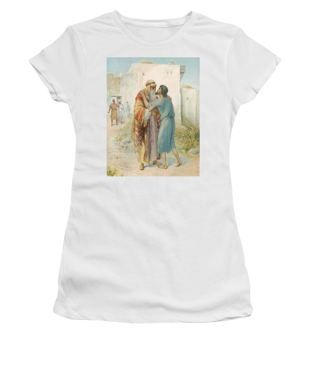 Bible Stories; Biblical; The Prodigal's Return; Return Of The Prodigal Son; Parable; Jesus Christ Women's T-Shirt (Athletic Fit) featuring the painting The Prodigal's Return by Ambrose Dudley