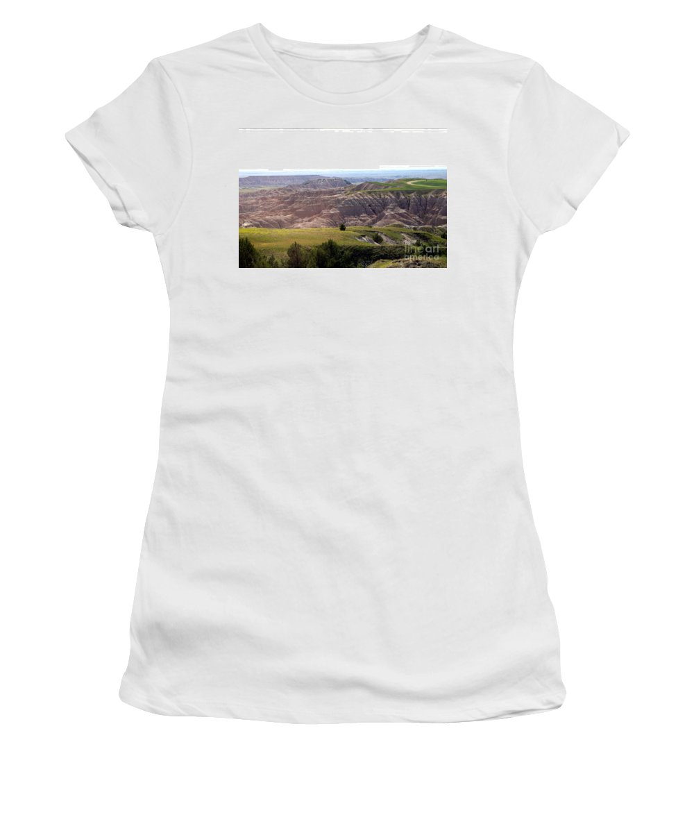 Badlands Women's T-Shirt (Athletic Fit) featuring the photograph The Road Is Long by Living Color Photography Lorraine Lynch