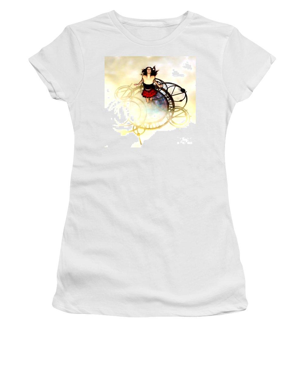 The Time Machine Women's T-Shirt featuring the digital art The Time Machine by Gabor Gabriel Magyar - Forgottenangel