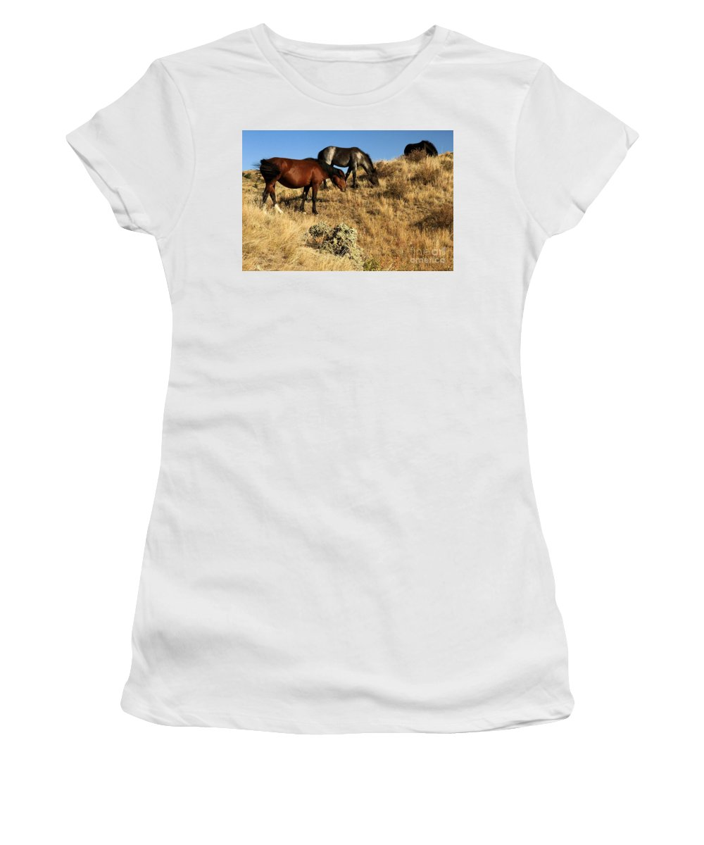 Theodore Roosevelt National Park Women's T-Shirt (Athletic Fit) featuring the photograph The Women Of Theodore Roosevelt by Adam Jewell