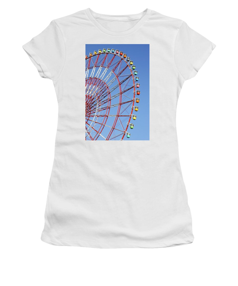 Wonder Wheel Women's T-Shirt (Athletic Fit) featuring the photograph The Wonder Wheel At Odaiba by Axiom Photographic