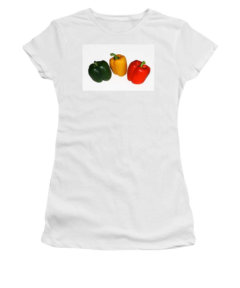 Pepper Women's T-Shirt (Athletic Fit) featuring the photograph Three Bell Peppers by Barbara McMahon