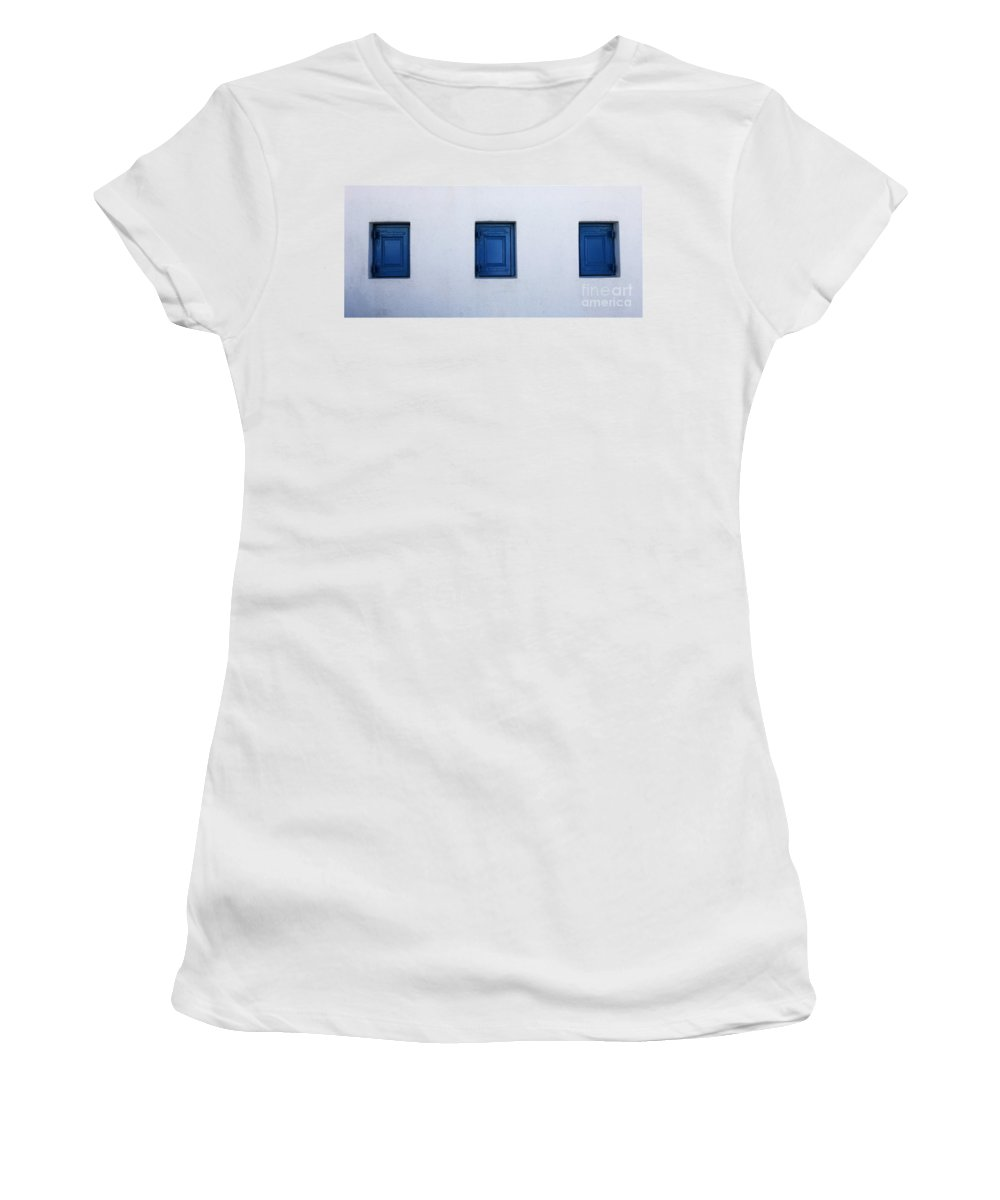 Greece Women's T-Shirt (Athletic Fit) featuring the photograph Three Blue Shutters by Bob Christopher