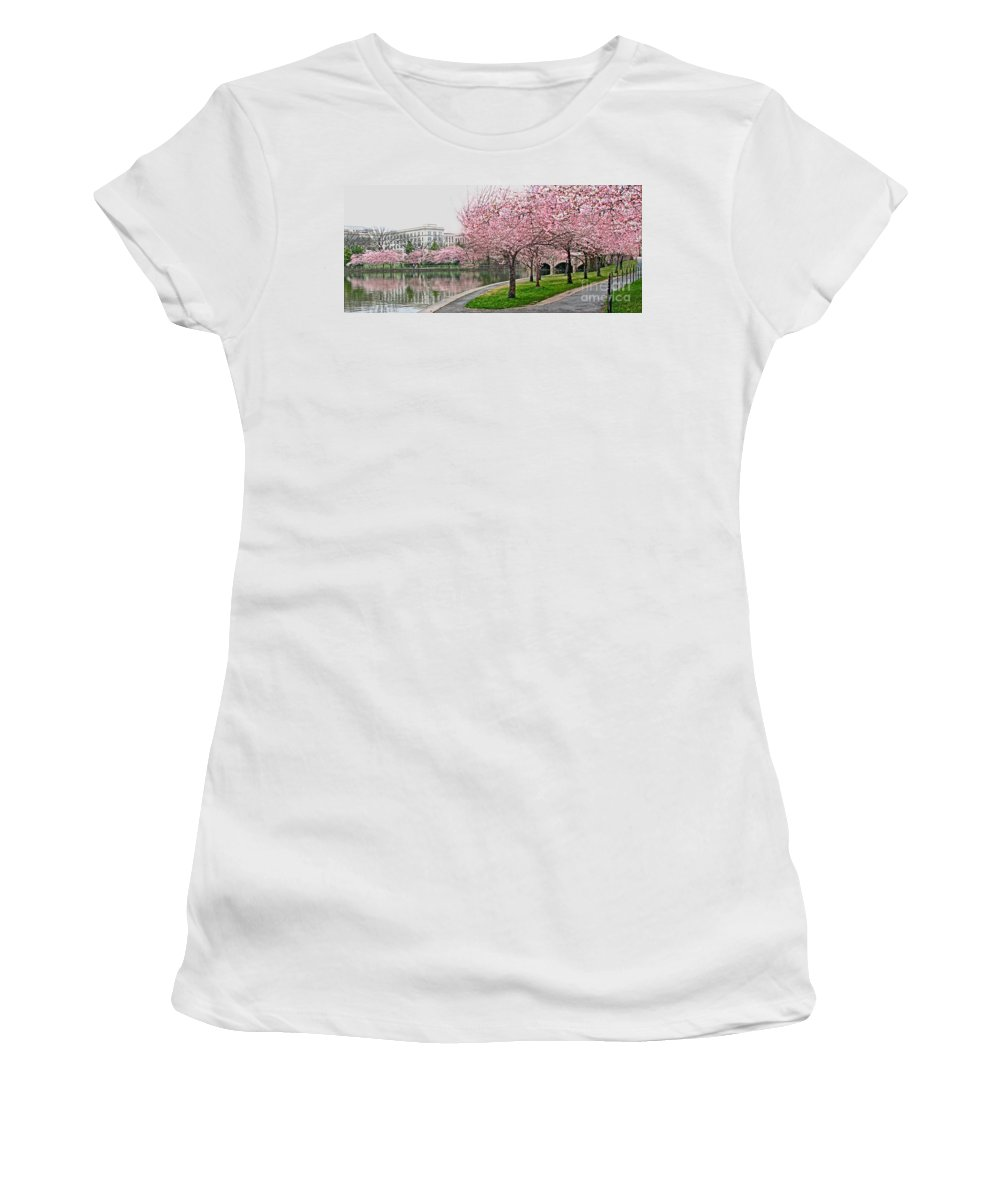 Tidal Basin Women's T-Shirt featuring the photograph Tidal Basin Near Jefferson Memorial by Jack Schultz