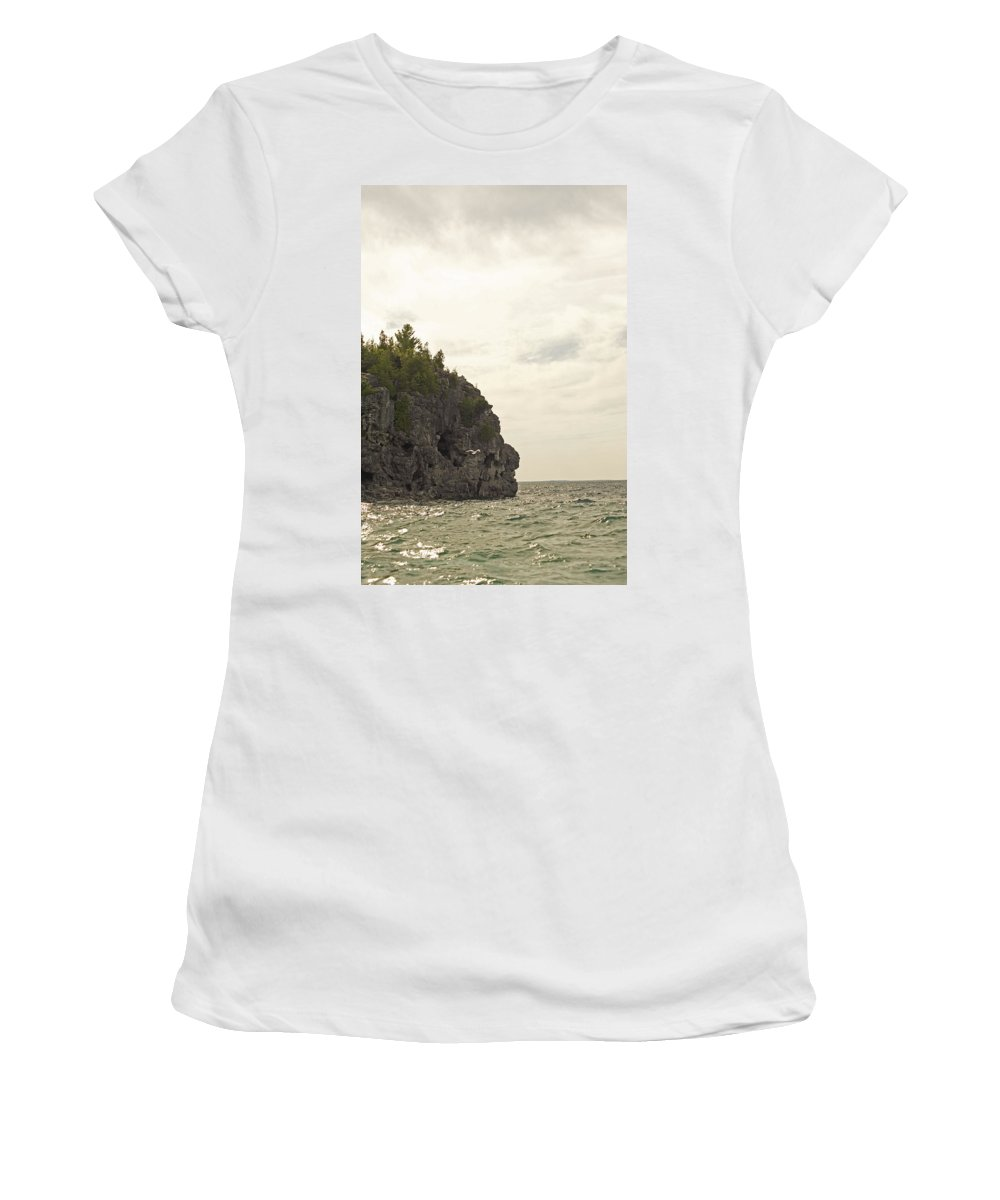Tobermory Women's T-Shirt (Athletic Fit) featuring the photograph Tobermory Caves by Elaine Mikkelstrup