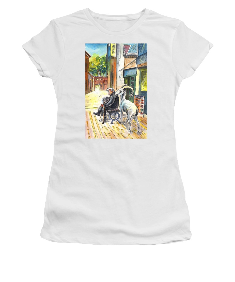 Travel Sketch Women's T-Shirt (Athletic Fit) featuring the painting Together Old In Cyprus 02 by Miki De Goodaboom