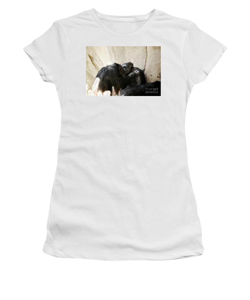 Landscape Women's T-Shirt (Athletic Fit) featuring the photograph Touching Moment Gorillas Kissing by Peggy Franz