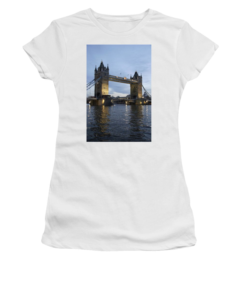 Vertical Women's T-Shirt (Athletic Fit) featuring the photograph Tower Bridge And River Thames At Dusk by Axiom Photographic