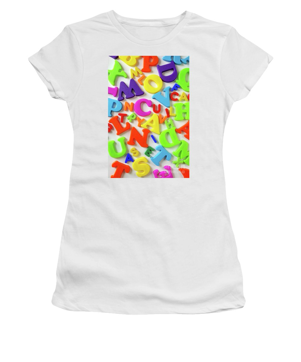 Abc Women's T-Shirt (Athletic Fit) featuring the photograph Toy Letters by Carlos Caetano