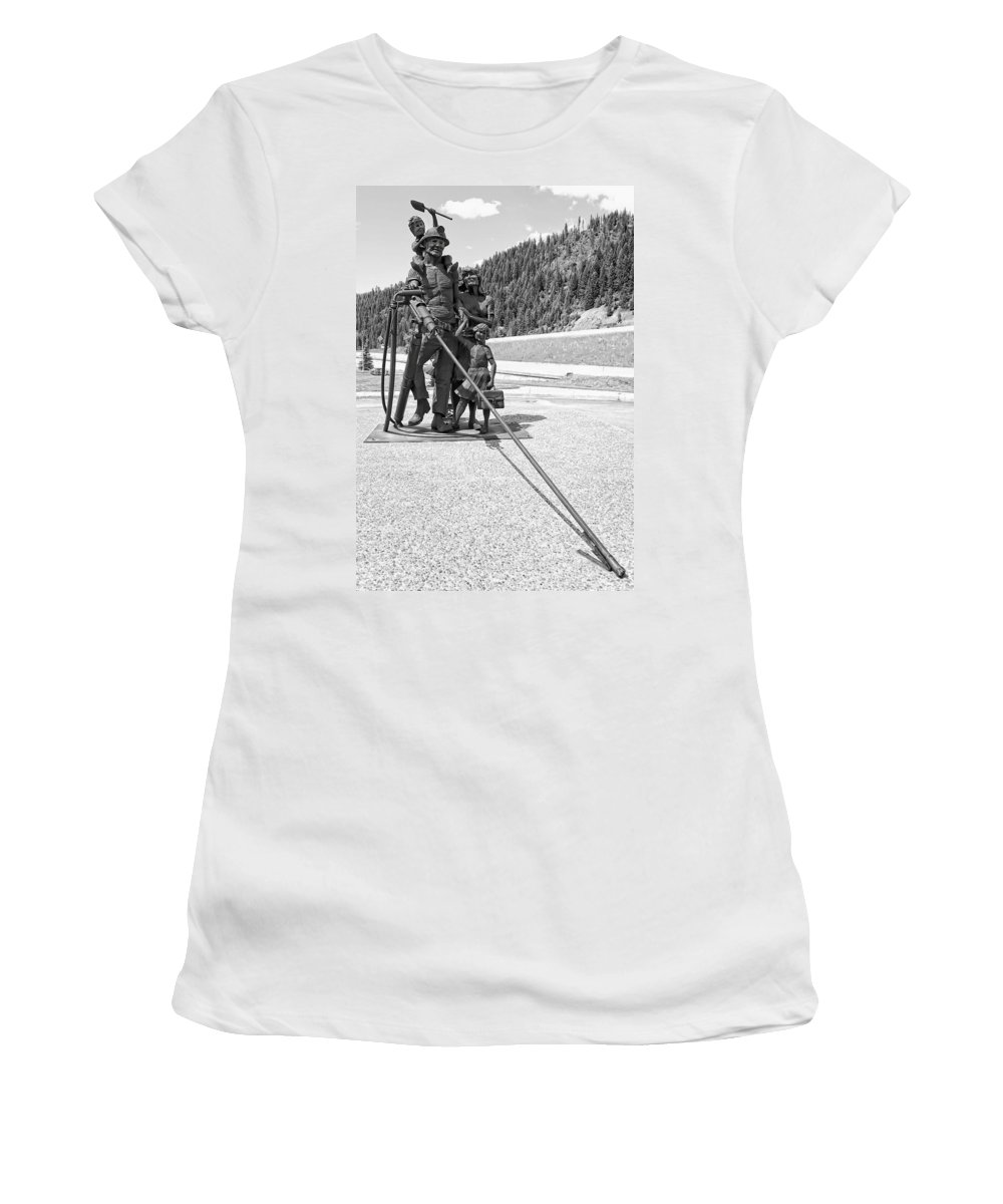 Mining Women's T-Shirt (Athletic Fit) featuring the photograph Tribute To The Mining Family - Wallace Idaho by Daniel Hagerman