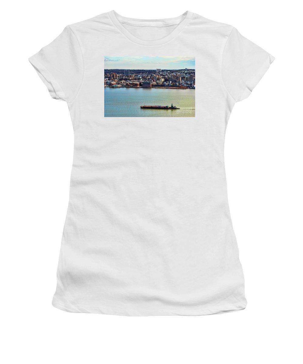 Tugboat On The Hudson Women's T-Shirt featuring the photograph Tugboat On The Hudson by Paul Ward