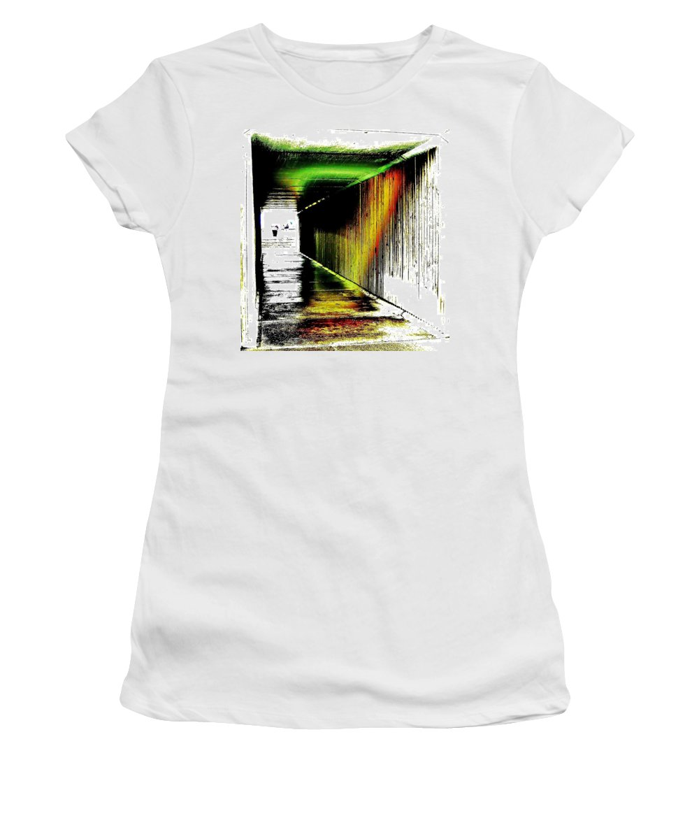 Tunnel Women's T-Shirt (Athletic Fit) featuring the photograph Tunnel Of Colour by Blair Stuart