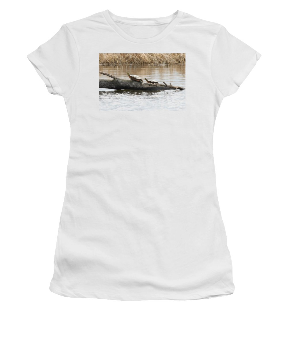 Turtles Women's T-Shirt (Athletic Fit) featuring the photograph Turtles Pretending To Be Part Of The Log by Lori Tordsen