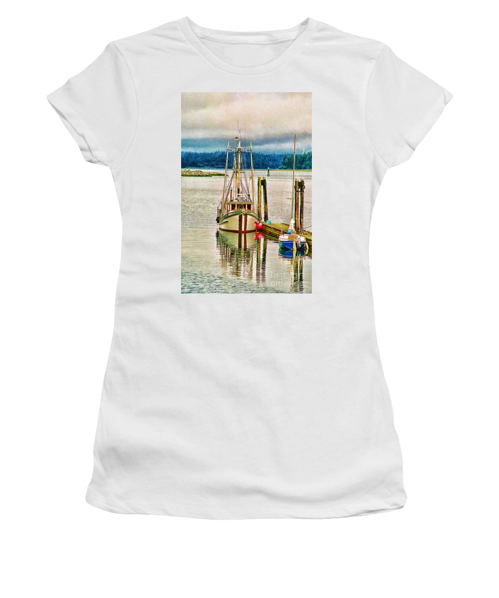 Boats Women's T-Shirt (Athletic Fit) featuring the photograph Ucluelet Harbour Hdr by Randy Harris