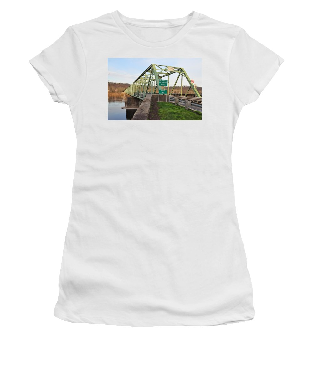 Uhlerstown Women's T-Shirt featuring the photograph Uhlerstown Frenchtown Bridge by Bill Cannon