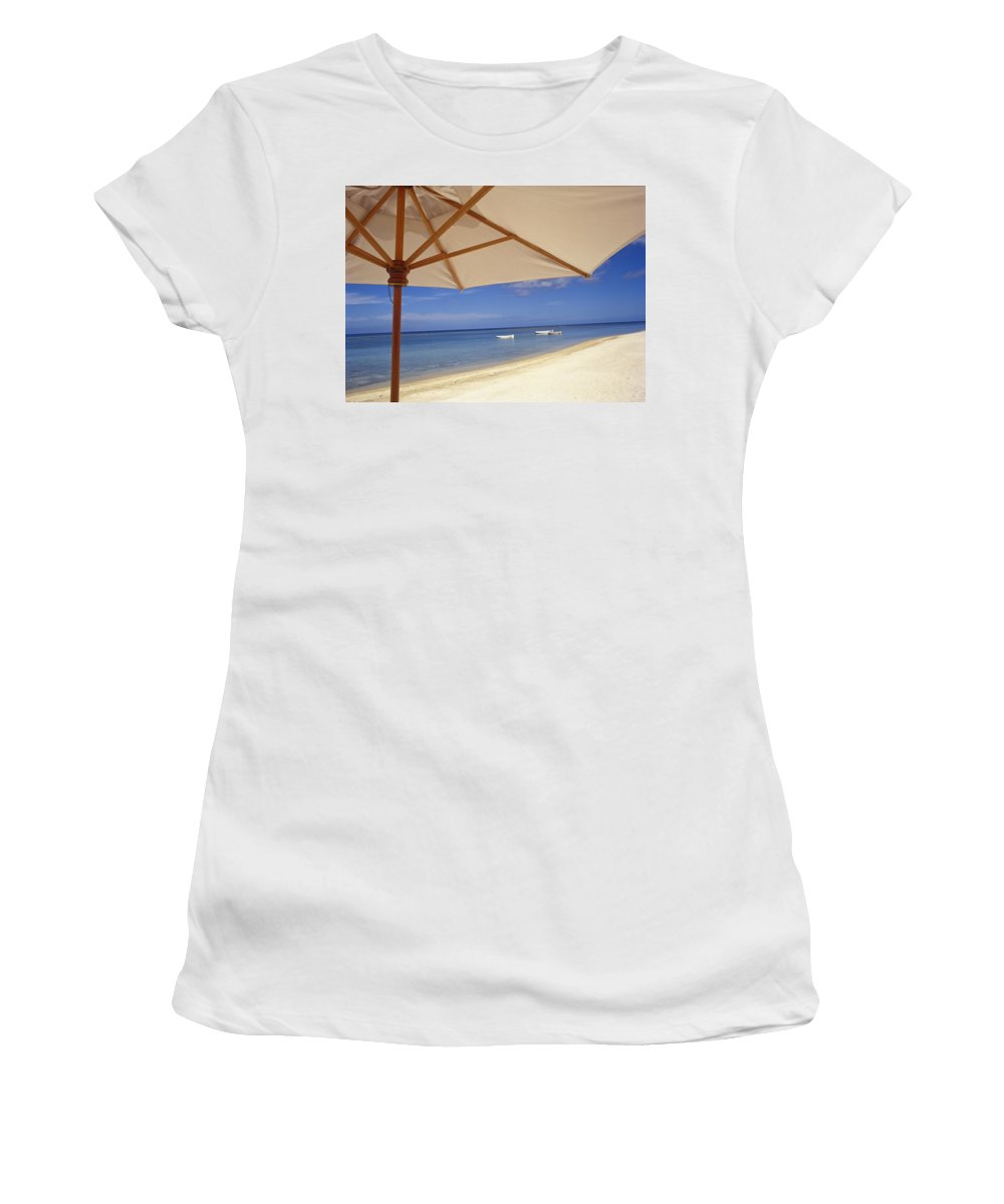 White Women's T-Shirt (Athletic Fit) featuring the photograph Umbrella And Tropical Beach, Close Up by Axiom Photographic