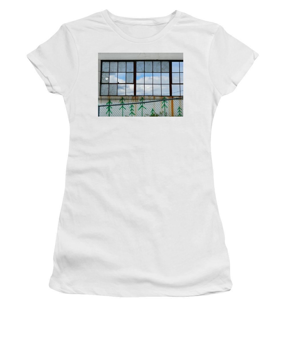Urban Women's T-Shirt (Athletic Fit) featuring the photograph Urban Decay - What's Still Standing by Kathleen Grace