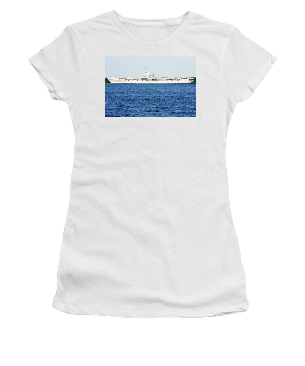 Naval Women's T-Shirt (Athletic Fit) featuring the photograph Uss Yorktown by Michael Clubb