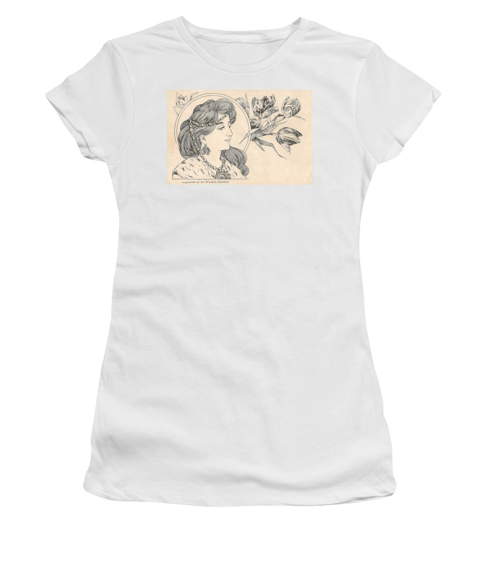 Victorian Woman Women's T-Shirt (Athletic Fit) featuring the digital art Victorian Lady - 1 by Georgia Fowler