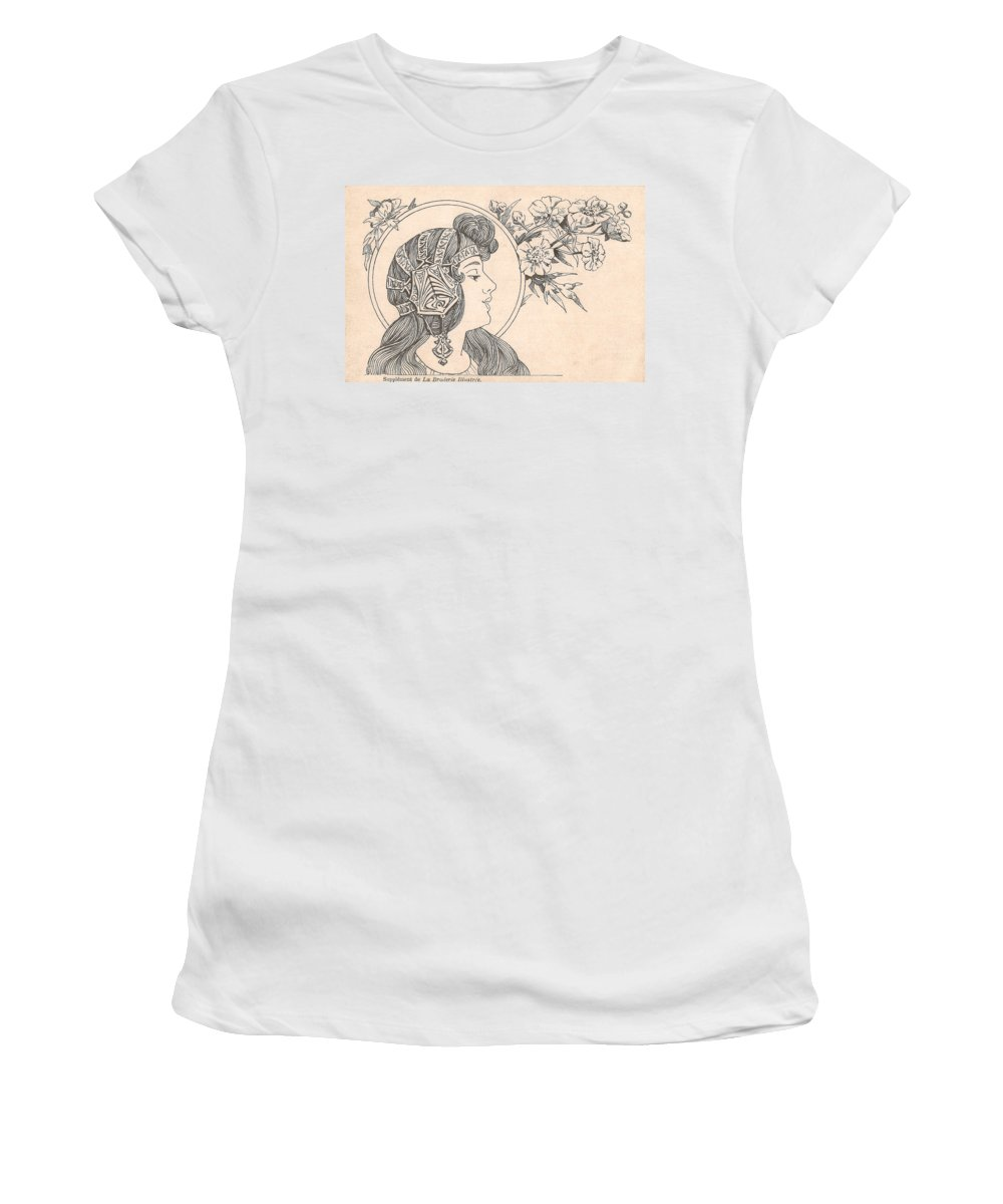 Victorian Woman Women's T-Shirt (Athletic Fit) featuring the digital art Victorian Lady - 3 by Georgia Fowler