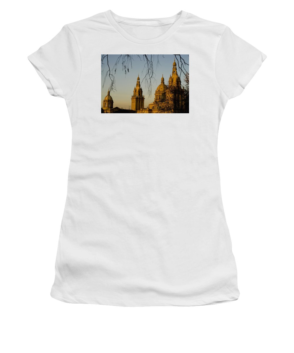 No People Women's T-Shirt (Athletic Fit) featuring the photograph Views Of Palau Nacional De Catalunya by Axiom Photographic
