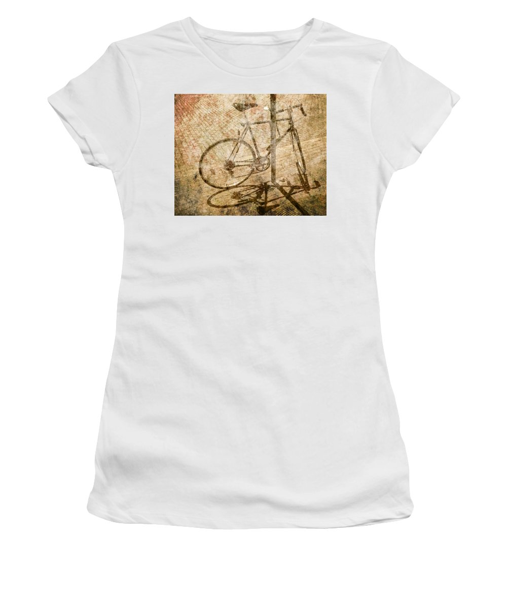 Art Photography Landscape Abstract Collage Surreal Bicycle Ridin Women's T-Shirt (Athletic Fit) featuring the photograph Vintage Looking Bicycle On Brick Pavement by Randall Nyhof