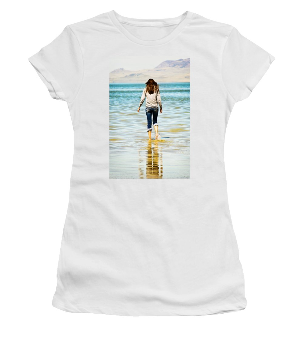 Great Women's T-Shirt (Athletic Fit) featuring the photograph Walking Away 1 by Marilyn Hunt