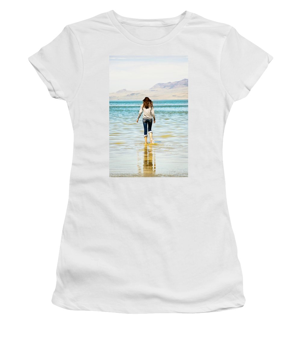 Great Women's T-Shirt (Athletic Fit) featuring the photograph Walking Away 2 by Marilyn Hunt