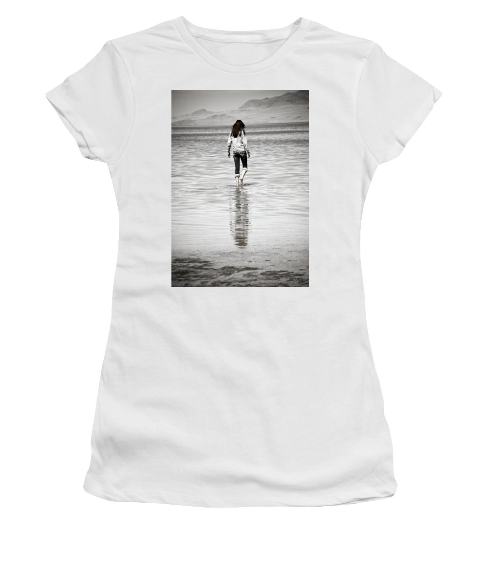 Great Women's T-Shirt (Athletic Fit) featuring the photograph Walking Away 3 by Marilyn Hunt