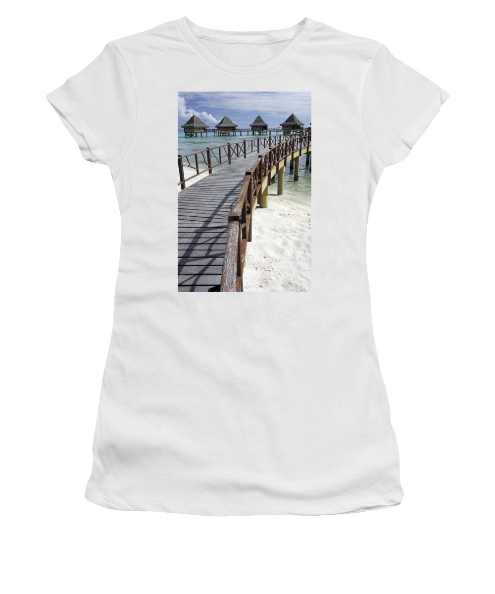 Photography Women's T-Shirt (Athletic Fit) featuring the photograph Walkway To Holiday Huts Over Lagoon by Axiom Photographic