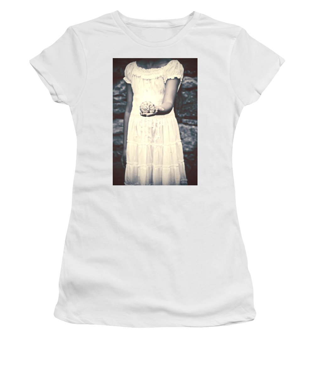 Girl Women's T-Shirt (Athletic Fit) featuring the photograph Water Snail by Joana Kruse